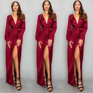 Dresses & Skirts - NWT Deep Plunge Knotted High Slit Maxi Dress